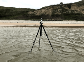 A reference camera set up on Omaha Beach, where the Higgins Boats landed on D-Day
